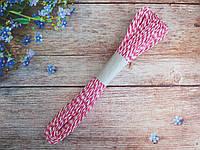 Шнур натуральный бумажный двухцветный, d 2 мм, цвет малиново-белый, 50 м