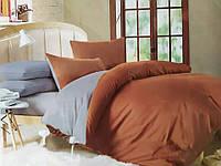 """Однотонный комплект постельного белья евро сатин """"Cappuccino"""". Красивый постельный комплект для спальни евро"""