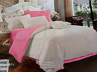 """Розово-бежевое двухцветное постельное белье евро сатин """"Desiree"""". Красивое постельное белье из сатина евро"""