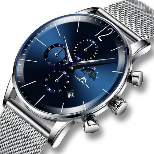 Оригінальні наручні годинники Megalith 8088M Silver-Blue   Оригінал Мегаліт
