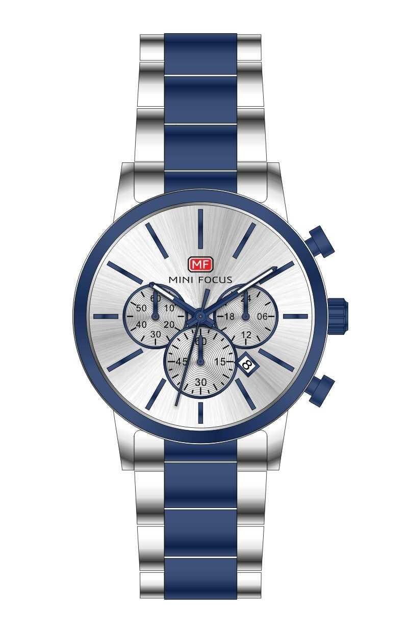 Оригинальные наручные часы Mini Focus MF0294G Silver-Blue   Оригинал Мини фокус, Гарантия 1 год!