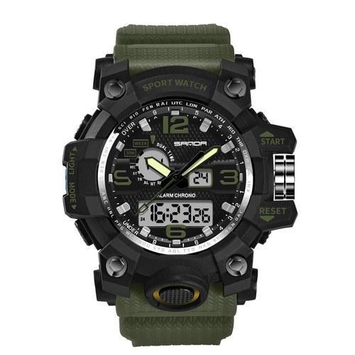 Оригінальні наручні годинники Sanda 742 Green-Black | Оригінал Санда