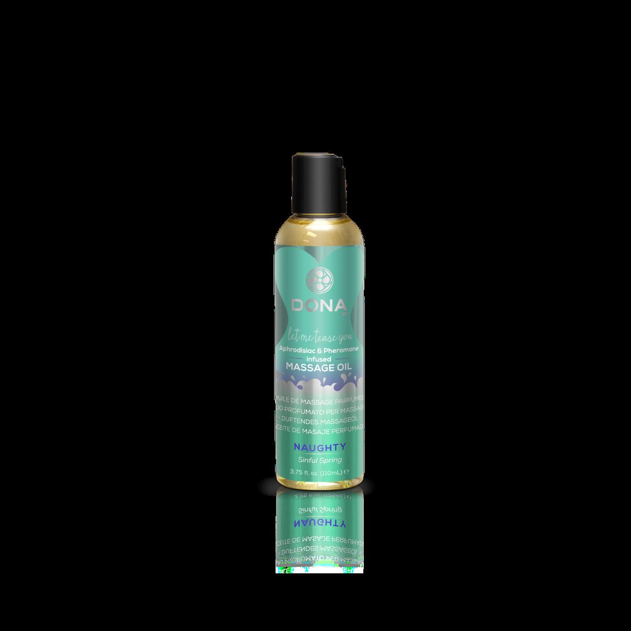 Масажне масло DONA Massage Oil NAUGHTY - SINFUL SPRING (110 мл) з феромонами і афродизіаками