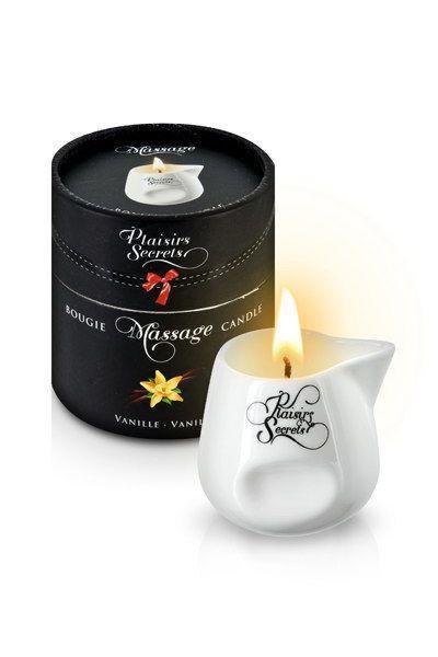 Массажная свеча Plaisirs Secrets Vanilla (80 мл) подарочная упаковка, керамический сосуд