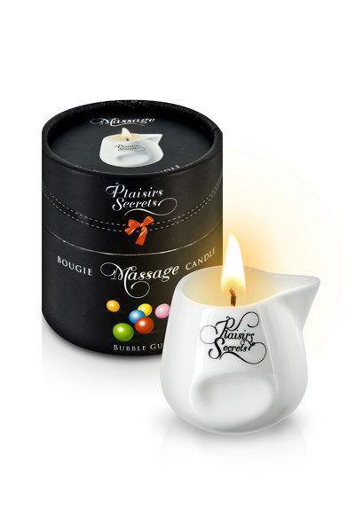 Масажна свічка Plaisirs Secrets Bubble Gum (80 мл) подарункова упаковка, керамічний посуд
