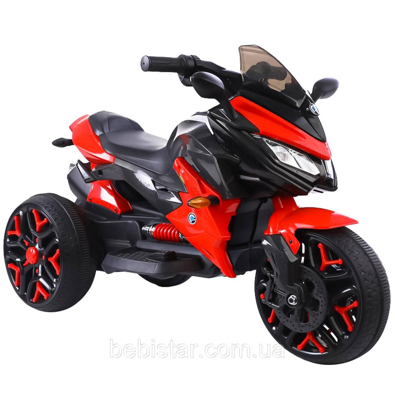 Электромобиль мотоцикл трехколесный красный с 2-мя моторами EVA колеса с MP3 размер 115х59х73см от 3 до 8 лет