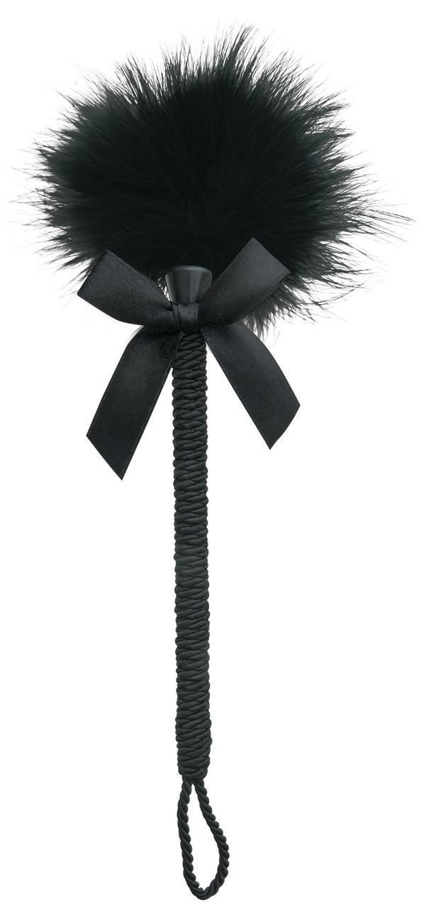 Метелочка-щекоталка Sportsheets Midnight Feather Tickler, декорированная шнуром и бантиком