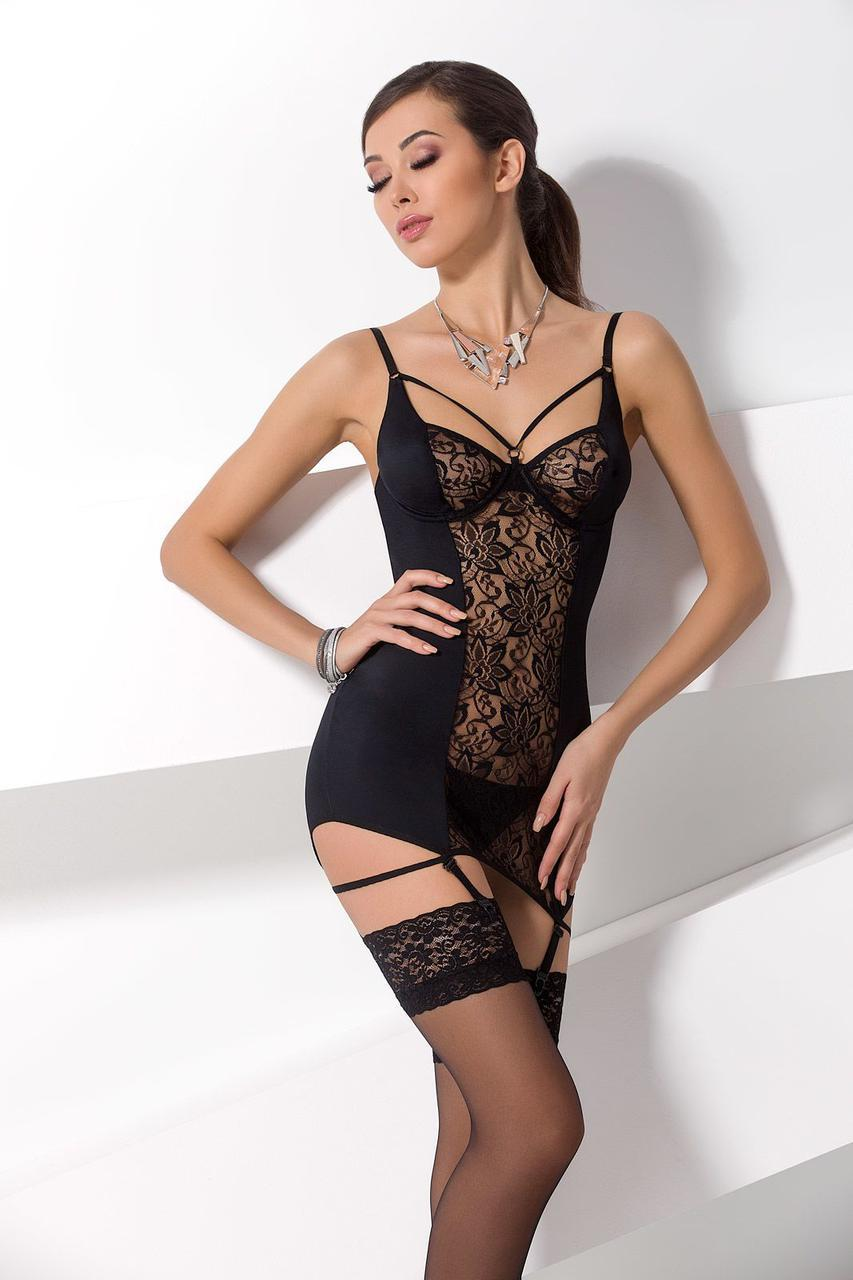 Сорочка приталені з пажами PAULINE CHEMISE black S/M - Passion, трусики