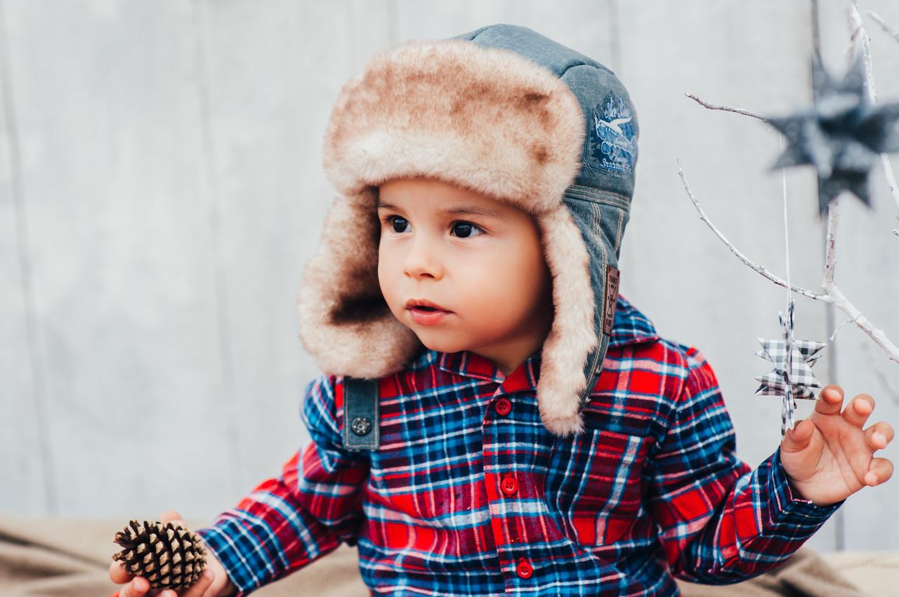 Детская шапка зимняя для мальчиков ЛЕВИС (хаки) оптом размер 46-48-50