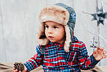 Детская шапка зимняя для мальчиков ЛЕВИС (джинсовый) оптом размер 46-48-50, фото 2