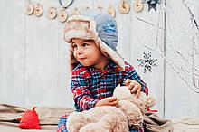 Детская шапка зимняя для мальчиков ЛЕВИС (джинсовый) оптом размер 46-48-50