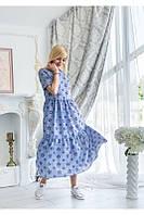 """Молодежное женское летнее свободное платье со звездочками больших размеров """"Филиппина"""""""