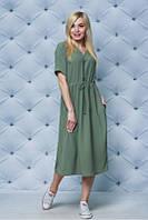 """Стильное свободное повседневное летнее платье больших размеров ниже колен """"Фирн"""" - 50-52,54-56"""