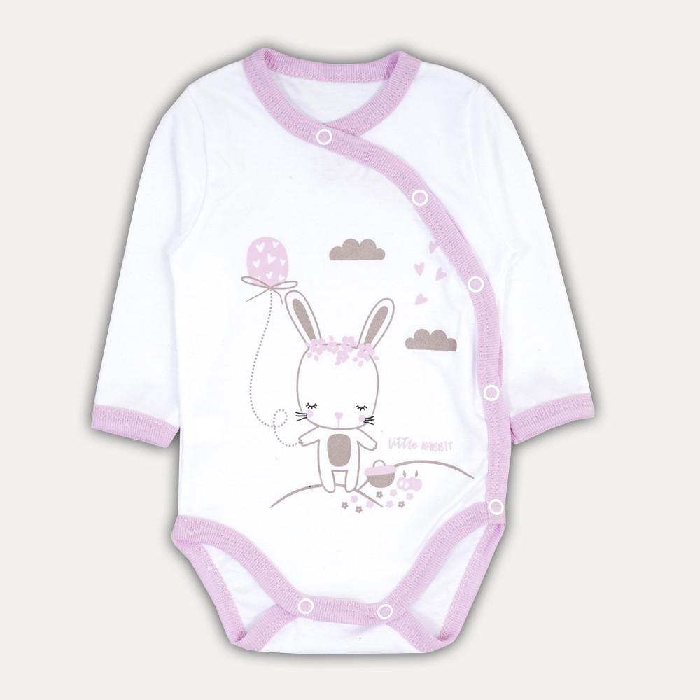 Купить Красивое розовое боди для девочек с длинным рукавом Зайчик . Боди для новорожденных из хлопка