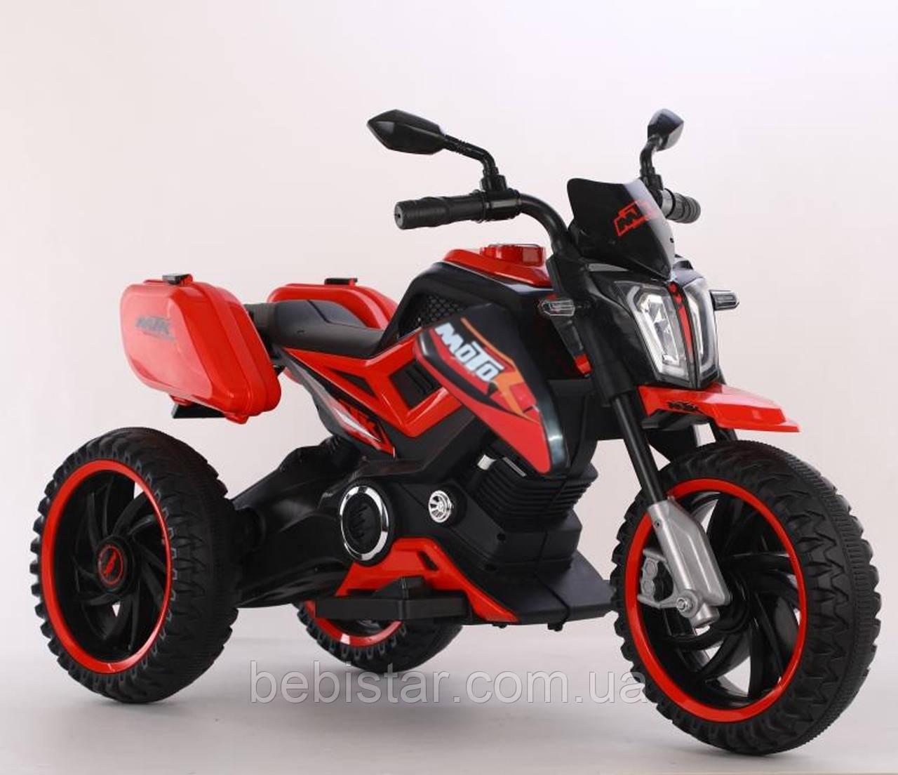 Электромобиль мотоцикл трехколесный красный с 2-мя моторами пластиковые колеса с MP3 от 3 до 8 лет