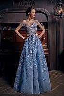 """Длинное голубое платье """"1264"""""""