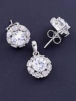 Комплект женских украшений ювелирная бижутерия состав серьги и кулон XUPING Фианит родиевое покрытие