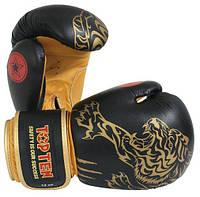 """Боксерские перчатки TopTen Design """"Tiger"""" 10 oz Золото"""