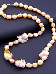 Бусы из розового жемчуга женские на шею бусины разных диаметров длина 56 см SUNSTONES