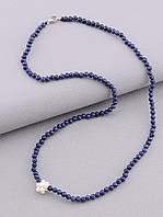 Бусы из сапфира синий цвет жемчужный кулончик в виде цветочка  длина 44 см