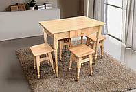 Комплект кухонный из натурального дерева (стол + 4 табурета)