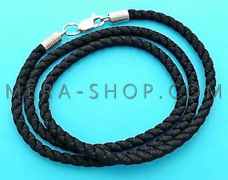 Шелковый плетеный шнурок с серебряным замком (⌀4 мм, черный, любая длина, серебро 925 пробы)