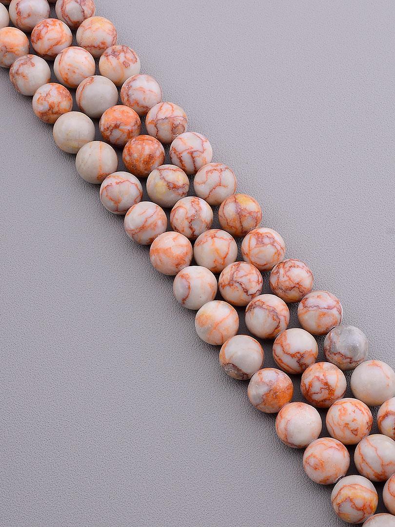 Заготовка для бус и браслетов нить из натурального камня Яшма 39 см 12 мм