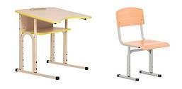 Комплект стол парта + стул ученический 1-местный антисколиозный с полкой регулируемый по высоте №4-6 NS