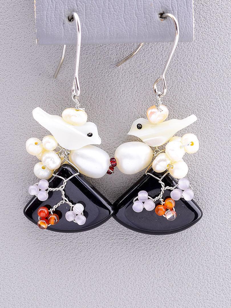 Серьги женские в стиле Hand Made с натуральным камнем Агат и Перламутр