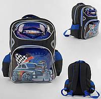 Школьный рюкзак Turbo черно-синий с мягкой спинкой 1 отделениям и 3 кармана
