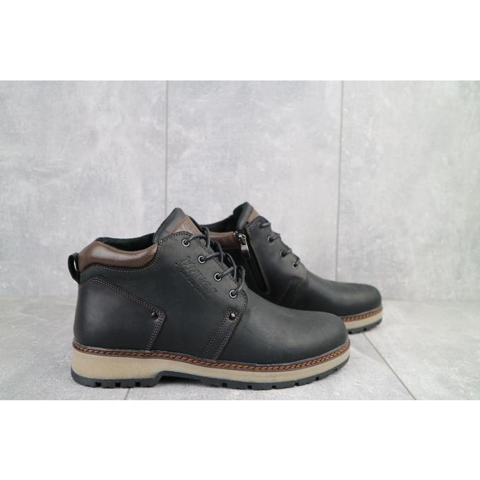 Мужские ботинки кожаные зимние черные-матовые Yuves 781