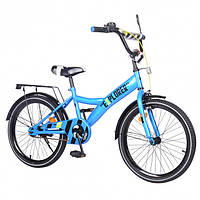 """Двухколесный велосипед для детей EXPLORER, 20"""" T-220111, с ручным и ножным тормозом, багажником, синий"""