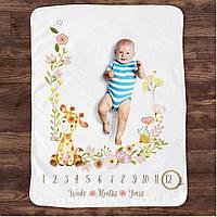 Плед покрывало для фото малыша по месяцам «как я росту» фотофон