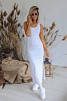 Платье-майка женское красивое с разрезами по бокам белое 331