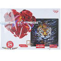 "Картина по номерам ""Взгляд тигра"" живопись,картины по цифрам,раскраска, размер 40х40 см"