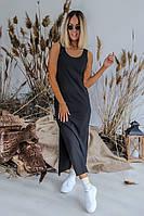 Платье-майка женское красивое с разрезами по бокам черное 331