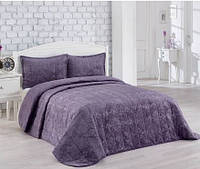 Велюровое турецкое покрывало с наволочками на кровать Евро Merinos  220*240 см, фиолетовое
