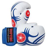 """Боксерские перчатки TopTen Design """"Tribal"""" сине-белые 10 oz"""