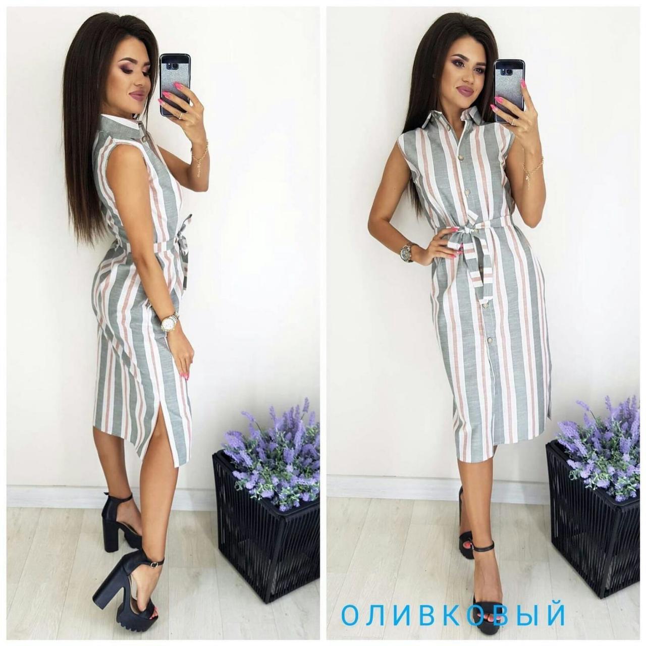Купить Платье-рубашка в оливковую полоску 169К 48