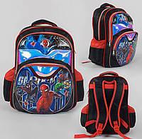 Школьный рюкзак с Супер героями черно-красный 3D рисунком мягкой спинкой 1 отделениям и 2 карманами