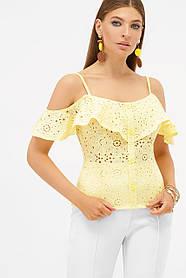 Блузка майка желтая из батиста и прошвы с открытыми плечами Размеры M, L, XL
