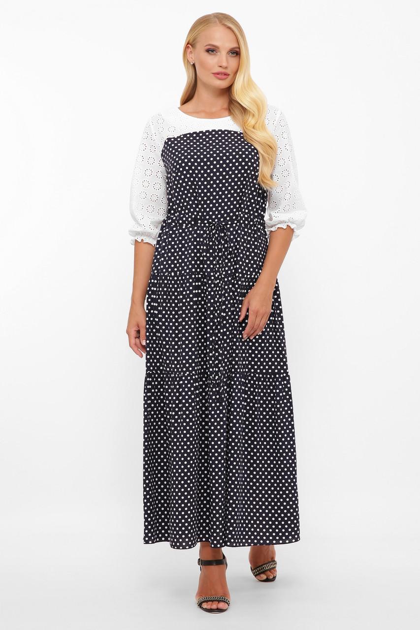 Сукня максі з прошвы і штапелю в горошок Розміри 52, 54, 56, 58
