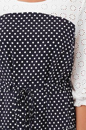 Сукня максі з прошвы і штапелю в горошок Розміри 52, 54, 56, 58, фото 2