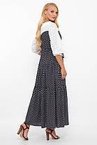 Сукня максі з прошвы і штапелю в горошок Розміри 52, 54, 56, 58, фото 3