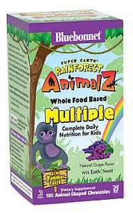 Мультивітаміни для дітей Bluebonnet Nutrition Rainforest Animalz Смак Винограду 180 жувальних цукерок