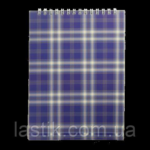 Блокнот на пружине сверху, SHOTLANDKA, А5, 48 л., клетка, синий