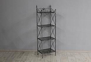 Кованая этажерка Прованс большая, каркас Черное серебро (0467-02)