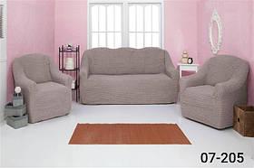 Чехол на диван и два кресла без оборки, натяжной, жатка-креш, универсальный Concordia Какао