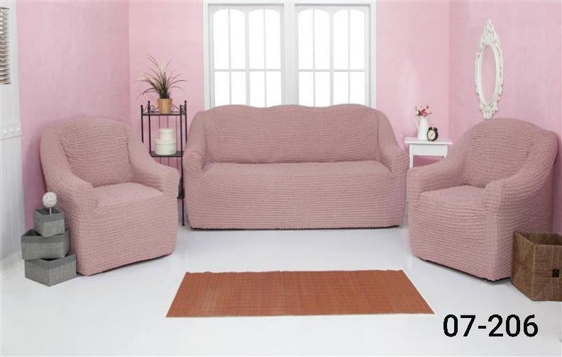 Чехол на диван и два кресла без оборки, натяжной, жатка-креш, универсальный Concordia Пудровый
