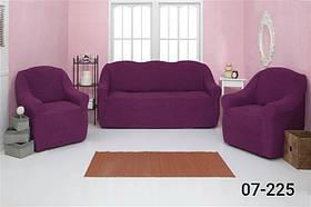 Чехол на диван и два кресла без оборки, натяжной, жатка-креш, универсальный Concordia Фиолетовый